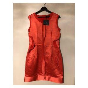 New Lanvin Dark Silk Ruffled Cocktail Dress